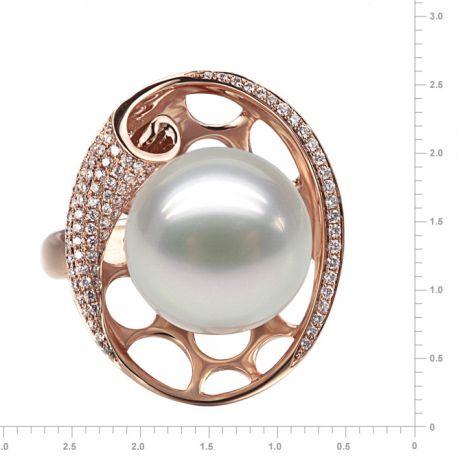 Anello stile corallo - Oro rosa, diamanti e perla dei Mari del Sud
