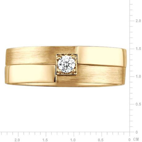 Bague Homme. Or jaune polie / brossé. Diamant 0.105ct | Edgar