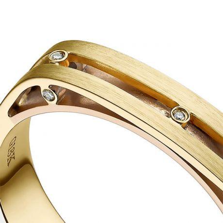 Bague contemporaine or jaune et rose 18cts - Diamant 0.02ct | Junon