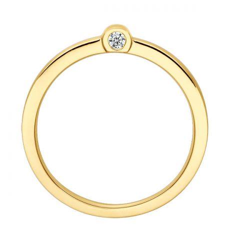 Bague anneau or jaune - 2 Diamants sertis clos   Dunham