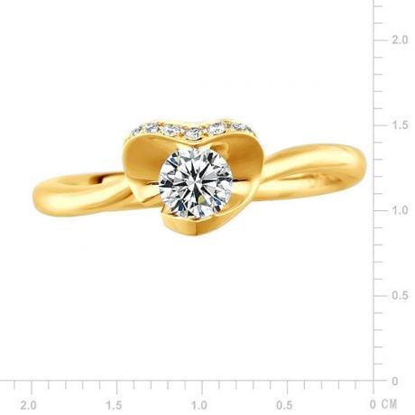 Bague Solitaire Dalida -  Or Jaune Diamants - Fleur Stylisée Pétales Coeur | Gemperles
