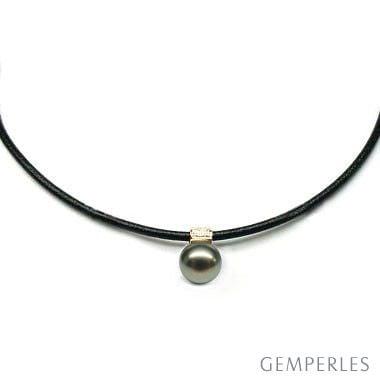 Collier pendentif - Perle de Tahiti - Cordon cuir, or jaune, diamants