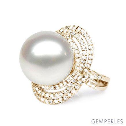 Bague perle d'Australie - Pavage diamants luminescents - Or jaune