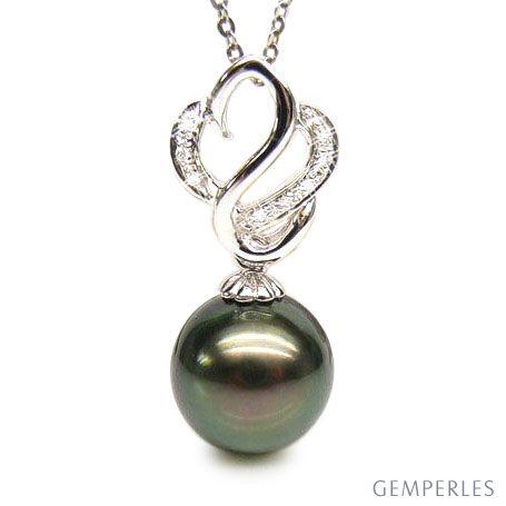 Ciondolo cigno oro bianco - Perla di Tahiti nera, pavone, verde - 11/12mm