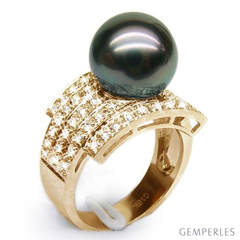 Bague style opulent - Perle Tahiti noire, bronze - Or jaune, diamants