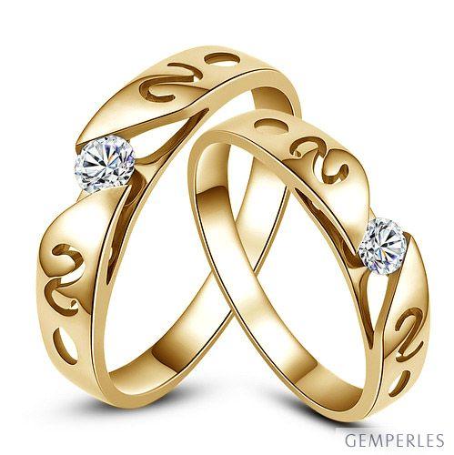 Mes alliances de mariage - Alliances Duo originales or jaune, diamants