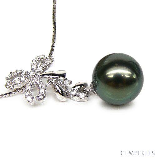 Ciondolo foglie oro bianco - Perla di Tahiti nera, bronzo - 11/12mm