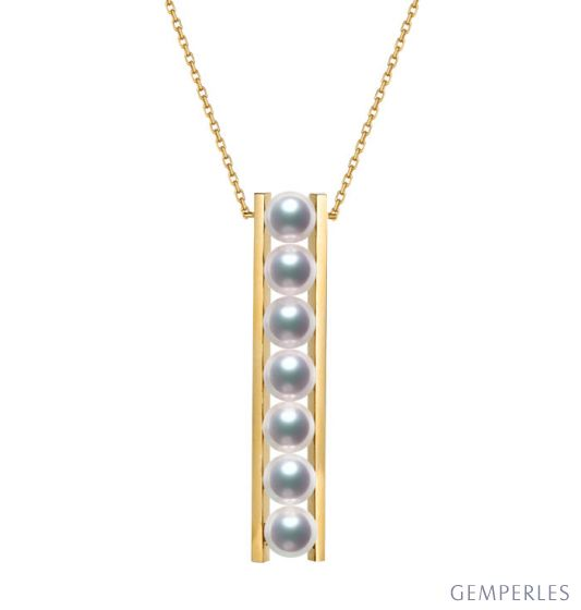 Pendentif 9 perles Akoya et or jaune. Disposition rail. Tsukushi