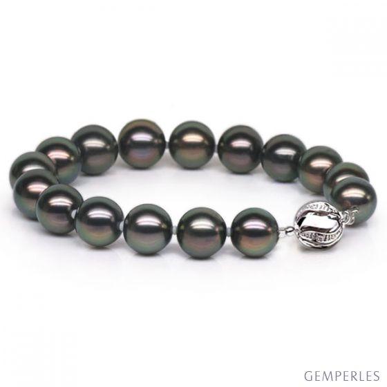 Bracelet perles Tahitiennes noires de 9/10mm - Fermoir en or