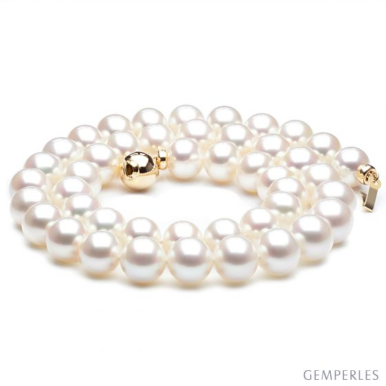 Collier perles eau douce blanches - Perles de culture - 8.5/9.5mm AAA