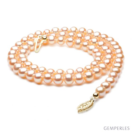 Collier perles culture - Perle eau douce Chine rose - 5/5.5mm, AA+