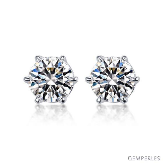 Puces diamants 0.50ct. Or blanc - Carat personnalisable