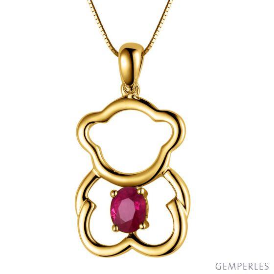 Pendentif or jaune rubis 0.35 carat - Mon petit ourson