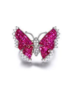 Bague Rubis Birmanie, Or blanc et diamants   Papillon ardent