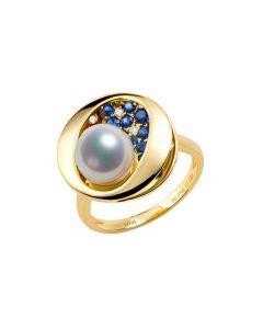Anello perla Akoya Seiza. Diamanti, zaffiri, Oro giallo I Gemperles