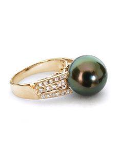 Bague perle de Tahiti - Or jaune - Pavage diamants micro sertis