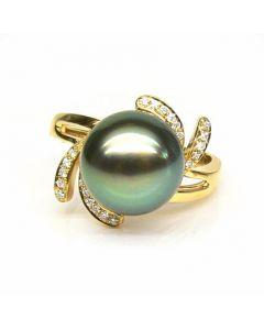 Bague fleur or jaune - Perle de Tahiti - Diamants enchassés aux pétales