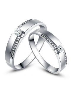 Alliances solitaires or blanc 750/1000 - Bagues Duo diamants   Déa & Blum