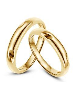 Alliances en or rondes - Duo d'alliances Or jaune - Diamants