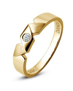 Alliance Homme or, diamants. Style morderne et géométrique