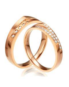 Alliances Homme et Femme en Or Rose 18cts et Diamants