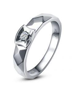 Alliance bague facettée - Alliance diamant Homme - Platine   Jules