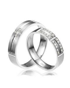Alliances Couple - Or blanc - Diamants