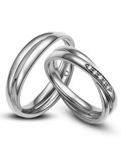 Duo d'alliances 2 anneaux or blanc - Diamants   Marthe & Andreas