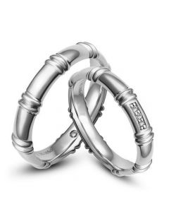 Alliances en or blanc 18 carats - Alliances diamants pour couple   Bambou