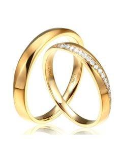 Alliances Duo en Or jaune et diamant. Entrelacée | Giovanna & Emiliano