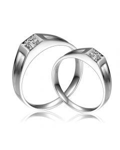 Alliances de type solitaire - Alliances Duo en or blanc et diamants