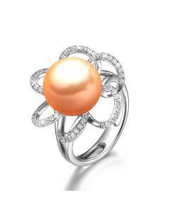 Bague flora perle rose - Or blanc 18cts, pétales diamants
