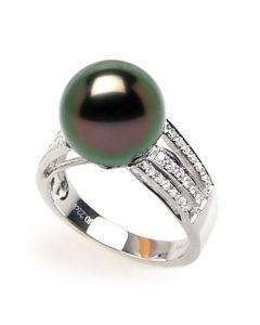 Anello classico oro bianco - Perla di Tahiti nera, pavone, melanzana - 10/11mm