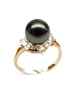Bague Great Abaco - Perle de Tahiti - Or jaune, diamants princesses