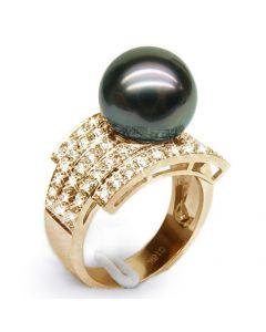 Bague style opulent - Perle Tahiti noire, bronze - Or jaune, diamants