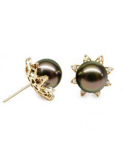 Boucles d'oreilles étoiles - Clous perles de Tahiti - Or jaune, diamants