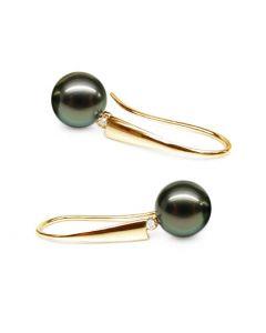 Boucles oreilles perles Tahiti - Crochets perles noires paons - Or jaune