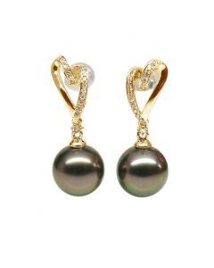 Boucles oreilles coeurs - Perles de Tahiti paons aubergines - Or jaune