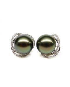 Orecchini ellittici in oro bianco - Perle di Tahiti, corona di diamanti