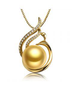 Pendentif Douce Végétale - Perle dorée mers du sud - Or jaune