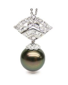 Pendentif perle de Tahiti - Or blanc - Diamants princesses, brillants