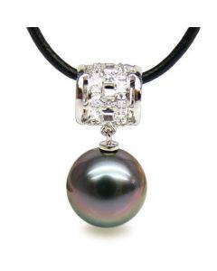 Ciondolo cilindro oro bianco - Perla di Tahiti nera, melanzana - 11/12mm