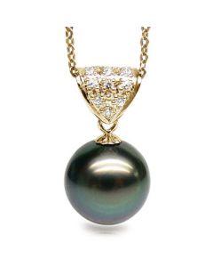 Pendentif Milos - Perle de Tahiti paon bleue - Or jaune, diamants