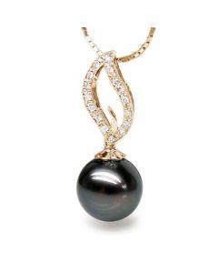 Pendentif flamme - Passion - Perle de Tahiti, or jaune, diamants