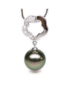Pendentif floral - Perle de Tahiti noire, aubergine - Or blanc, diamants