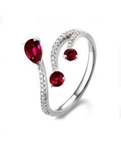 Bague larmes de rubis - Diamants, or blanc