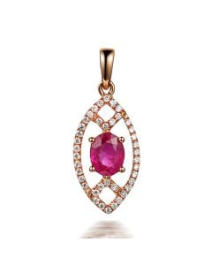 Pendentif ovalesque rubis or rose. Sertissage diamants