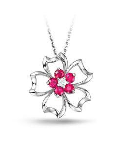 Pendentif fleur 5 feuilles - Or blanc 18 carats - Rubis 0.30 ct