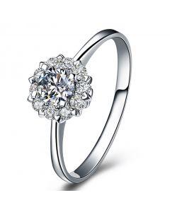 Bague Or Blanc Solitaire - Coeur Caillouté - Diamants pavés | Coeur Caillouté