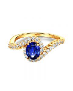 Bague saphir or jaune pavage diamant sinueux
